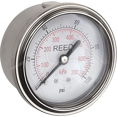 Reed Pressure Gauge Back Connection, 0 - 100 PSI, 2-1/2