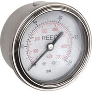 "Reed Pressure Gauge Back Connection, 0 - 100 PSI, 2-1/2"" (AHNC-100P)"