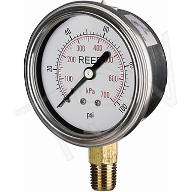 Reed Pressure Gauge Bottom Connection, 0 - 15 PSI/0 - 100 kPa, 2-1/2