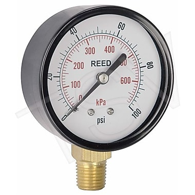 Reed Pressure Gauge Bottom Connection, 0 - 600 PSI, 2-1/2