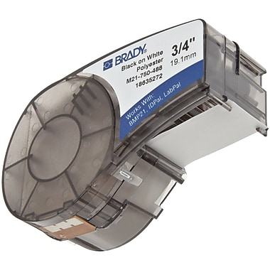 Brady Label Cartridge for BMP21 Series, ID PAL, LabPal Printers, White (M21-750-488)
