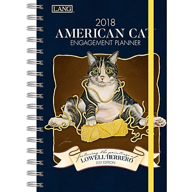 Lang 2018 American Cat Spiral Engagemant Planner, January-December Format