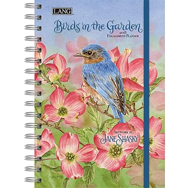 Lang 2018 Birds In The Garden Spiral Engagemant Planner, January-December Format