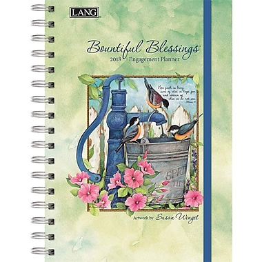 Lang 2018 Bountiful Blessings Spiral Engagemant Planner, January-December Format