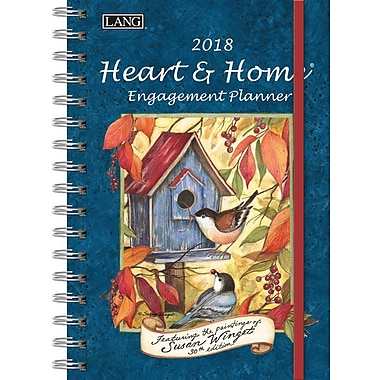 Lang 2018 Heart & Home Spiral Engagemant Planner, January-December Format