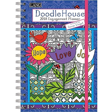 Lang 2018 Doodle House Colouring Planner, January-December Format