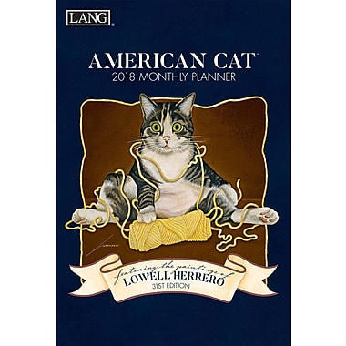 Lang 2018 American Cat Monthly Planner, 13 Month Format. January 2018- January 2019