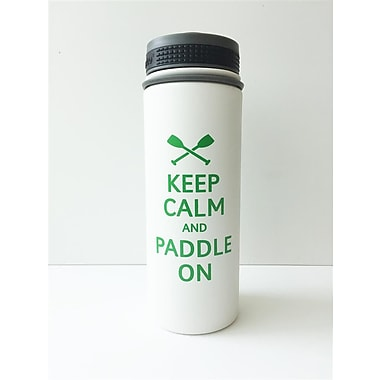 Premier Gift – Flacon isolé sous vide de 18 oz Alpine en acier inoxydable 18/8 « Keep Calm And Paddle On »