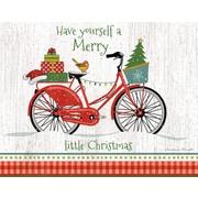 Lang – Boîte de cartes de Noël à illustrations en couleur à l'intérieur et à l'extérieur, vélo du père Noël
