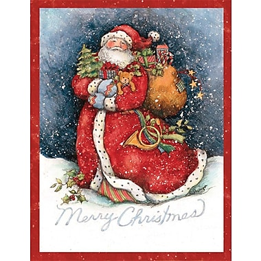 Lang Merry Santa Boxed Christmas Cards Full Colour Artwork Inside & Out