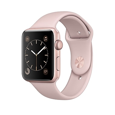 Apple – Montre Apple Watch Series 1, 42 mm, boîtier en aluminium or rose, bracelet sport sable rose (MQ112CL/A)