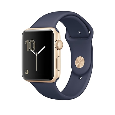 Apple – Montre Apple Watch Series 2, 38 mm, boîtier en aluminium or, bracelet sport bleu de minuit (MQ132CL/A)