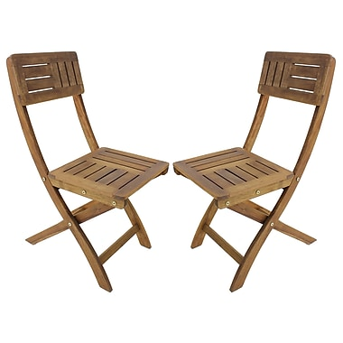 Cathay Importers Folding Side Chairs, Acacia Wood, Natural, 2/Pack (EC-20-0087)