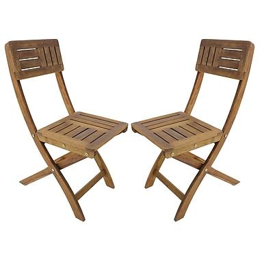 Cathay Importers - Chaises pliables, bois d'acacia, ton naturel, ens./2 (EC-20-0087)