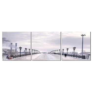 Cathay Importers - Tryptique, Pont urbain, 24 po x 8 po, 3 panneaux (EC-24-0350)
