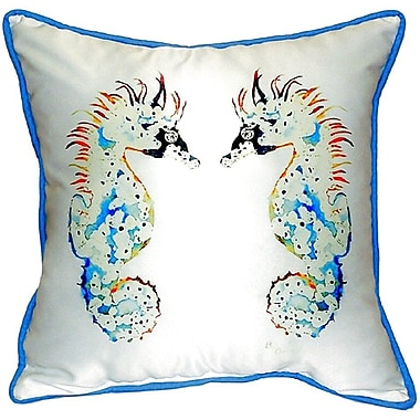 Betsy Drake Interiors Seahorses Indoor/Outdoor Throw Pillow; Small