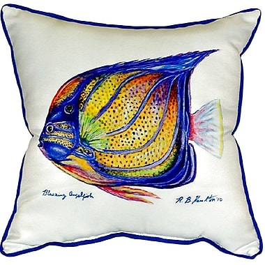 Betsy Drake Interiors Ring Angelfish Indoor/Outdoor Throw Pillow; White
