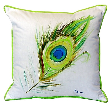 Betsy Drake Interiors Peacock Feather Indoor/Outdoor Throw Pillow; Large