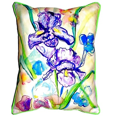 Betsy Drake Interiors Two Irises Indoor/Outdoor Lumbar Pillow; Small