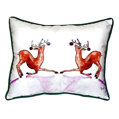 Betsy Drake Interiors Dancing Deer Indoor/Outdoor Lumbar Pillow; Small