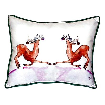 Betsy Drake Interiors Dancing Deer Indoor/Outdoor Lumbar Pillow; Small