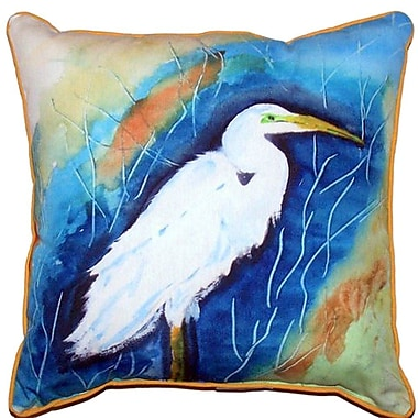 Betsy Drake Interiors Great Egret Indoor/Outdoor Throw Pillow; Large