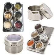 Koolulu Stainless Steel Magnetic 6 Jar Counter Top Spice Rack