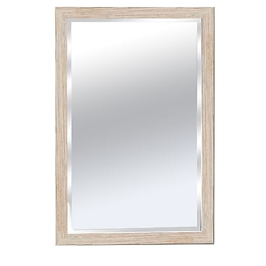 KingwinHomeDecor Wood Framed Bathroom Wall Mirror; White
