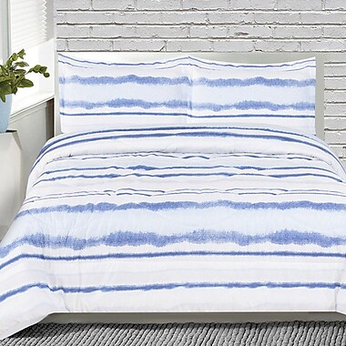 Ebern Designs Howard 3 Piece Striped Comforter Set; Queen