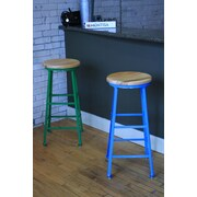 MontisaWork High Angle Steel Wood Seat 30'' Bar Stool; Green