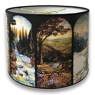 RoyalDesigns Seasons Stained Glass Printed Designer Hard Back 10'' Paper Drum Lamp Shade