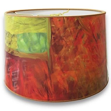 RoyalDesigns Warm Tone Painterly Designer Hard Back 10'' Paper Drum Lamp Shade