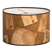 RoyalDesigns Vintage Letters Designer Hard Back 10'' Paper Drum Lamp Shade