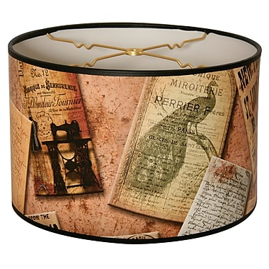 RoyalDesigns Victorian Letters Designer Hard Back 10'' Paper Drum Lamp Shade