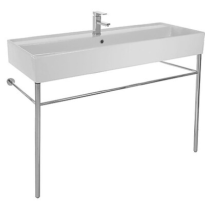 Scarabeo by Nameeks Teorema Ceramic 48'' Console Bathroom Sink w/ Overflow; 8'' Widespread