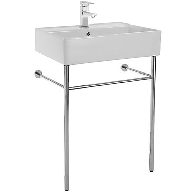 Scarabeo by Nameeks Teorema 23.6'' Console Bathroom Sink w/ Overflow; 8'' Centers