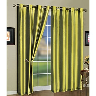 J&V Textiles Mira Solid Blackout Curtain Grommet Panels (Set of 2); Lime Green
