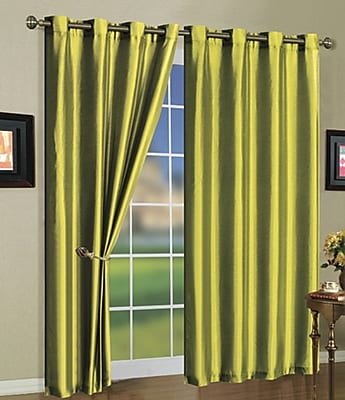 J&V Textiles Mira Solid Blackout Curtain Grommet Panels (Set of 2); Lime Green