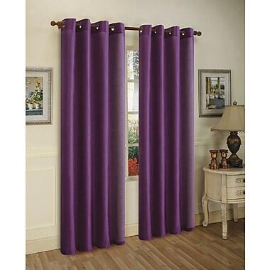 J&V Textiles Mira Solid Blackout Curtain Grommet Panels (Set of 2); Purple