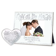 LighthouseChristianProducts 2 Piece All My Heart Tray and Picture Frame Set