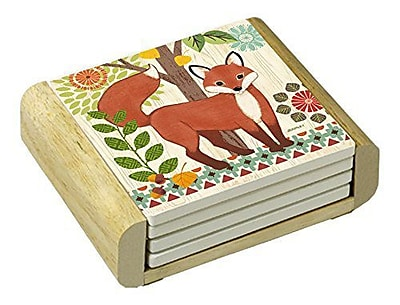 CounterArt 5 Piece Woodland Friends Fox Absorbent Coaster Set