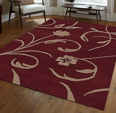 Get My Rugs Hand-Tufted Red/Beige Area Rug; 5' x 8'