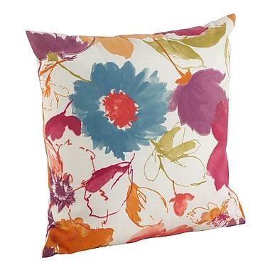 Saro Watercolor Floral Art Poly Filled Indoor/Outdoor Throw Pillow