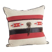 Saro Cowhide Suede Trim Southwestern Embroidered Design Down Filled Throw Pillow