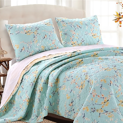 Barefoot Bungalow Cherry Blossom Reversible Quilt Set; Full/Queen