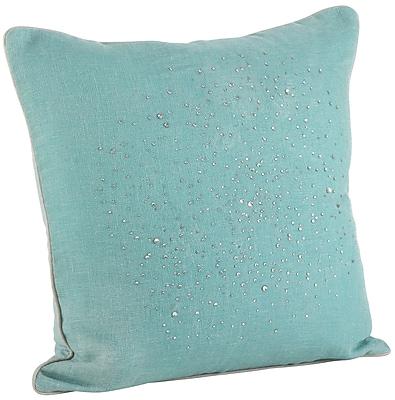 Saro Crystal Rhinestone Gem Down Filled Throw Pillow; Aqua