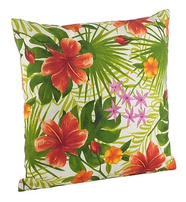 Saro Tropical Hibiscus Floral Indoor/Outdoor Throw Pillow; 21'' H x 21'' W
