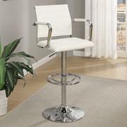 Infini Furnishings Adjustable Height Swivel Bar Stool (Set of 2); White