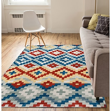 Bloomsbury Market Carlo Red/Blue Area Rug; 5' x 7'