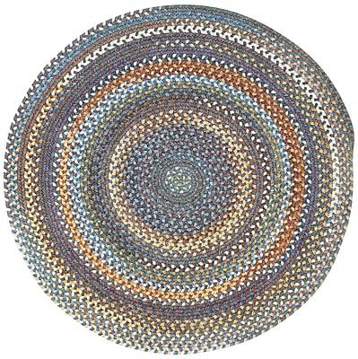 August Grove Phoebe Medium Blue Variegated Rug; Round 7'6''